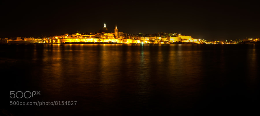 Photograph Night panorama of Valletta by Joe Borg on 500px