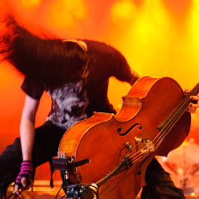 Cellist Perttu Kivilaakso of Apocaliyptica performing at the 2009 Ilosaarirock festival.