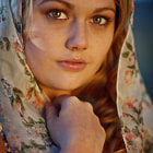 Natural light, with a gold reflector positioned at 45 degrees camera right.  I've named this image <i>Berrima Girl</i>, as it reminds me a little of Steve McCurry's famous 1984 image <i>Afghan Girl</i>.  I didn't set out to create an image along the lines of McCurry's shot, but the wide eyes, headscarf and warm light all kinda played out that way unintentionally.