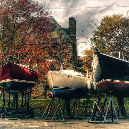 Boats Wintering in Baddeck Cape Breton Island
