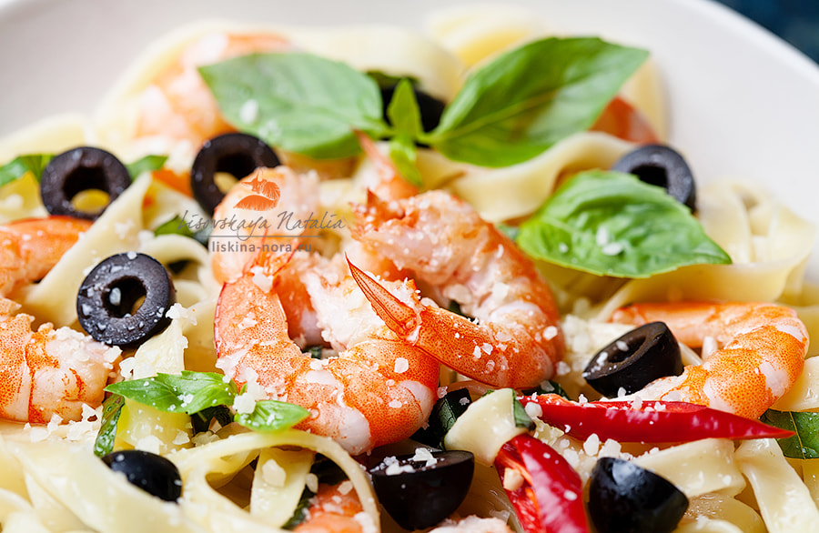 Photograph pasta with prawns, cheese and basil by Natalia Lisovskaya on 500px