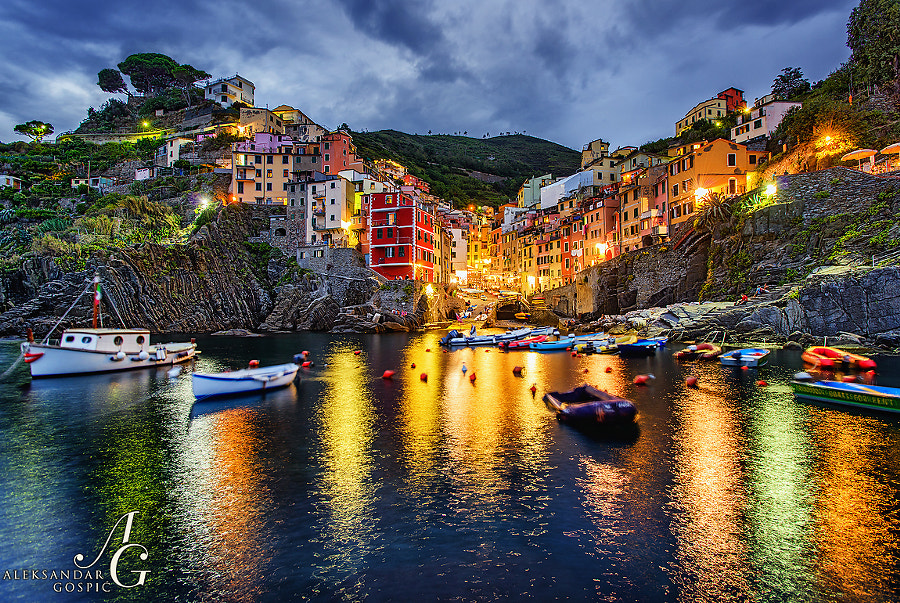Twilight in Riomaggiore, one of several amazing places that make up the 5 Terre, dramatic section of Ligurian Sea coastline between Genoa and La Spezia in the west of Italy