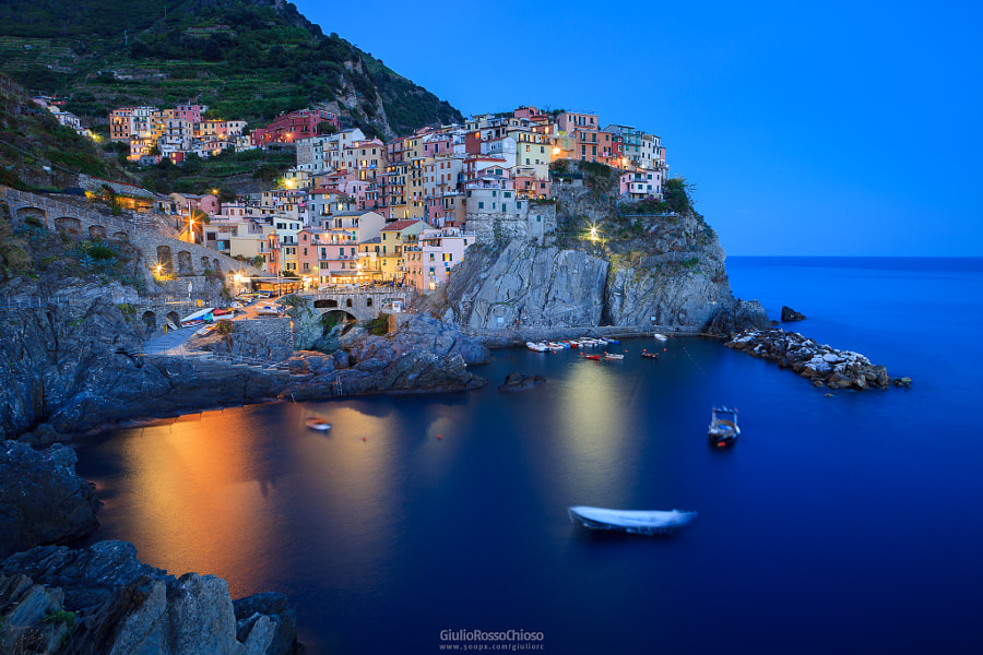 Manarola | Blue Hour by Giulio Rosso Chioso on 500px.com