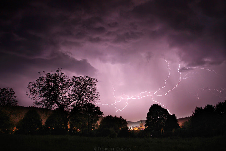 Photograph Lightning and Church by Florent Courty on 500px