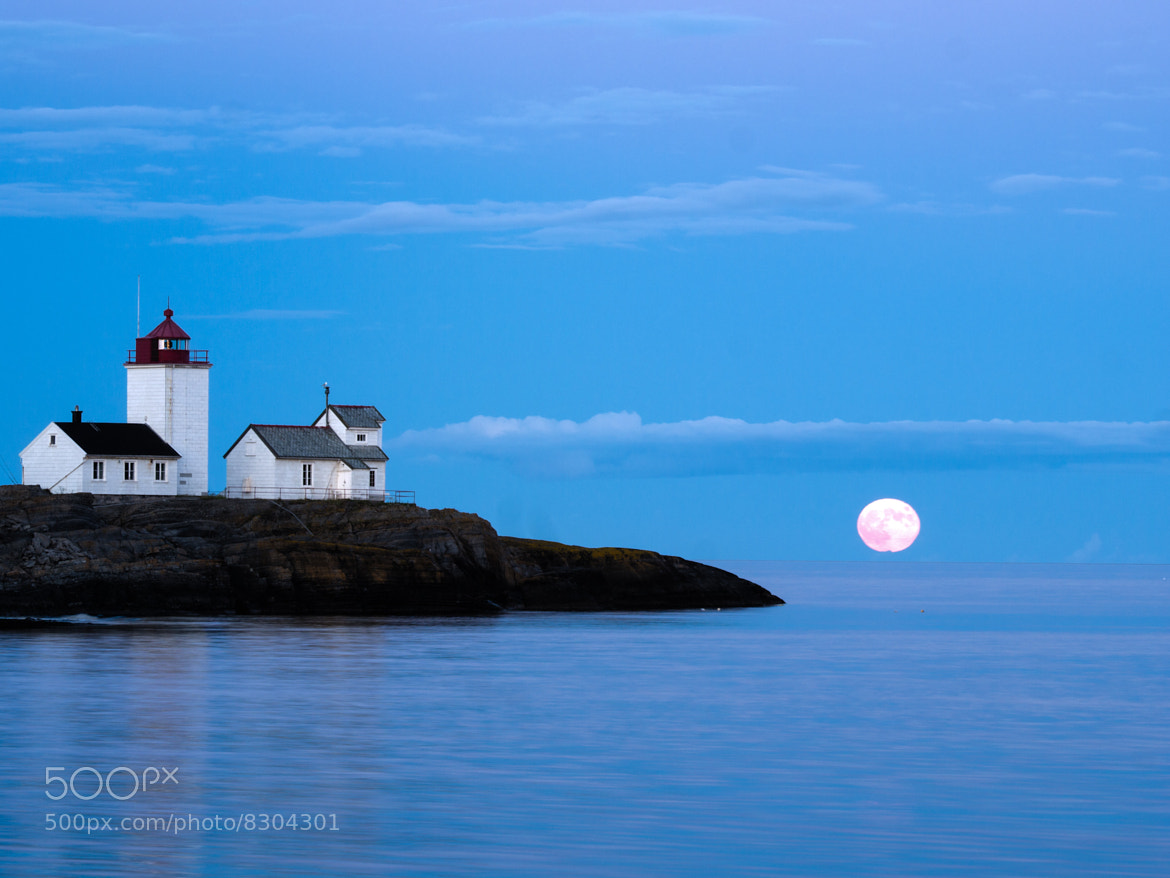 Photograph Full moon at Langøytangen lighthouse by Tom Øyvind Hogstad on 500px