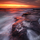 A view of the edge of the rock shelf at Narrabeen, captured on one of the finest dawns and sunrises I've ever photographed.