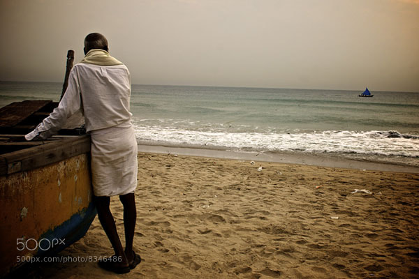 Photograph Old Man and the Blue Boat by Sanjay Nanda on 500px