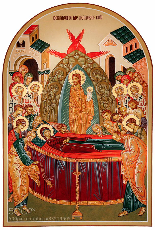 dormition, 12'5 x 7'. Canvas, natural pigments, 24K Gold leaf.