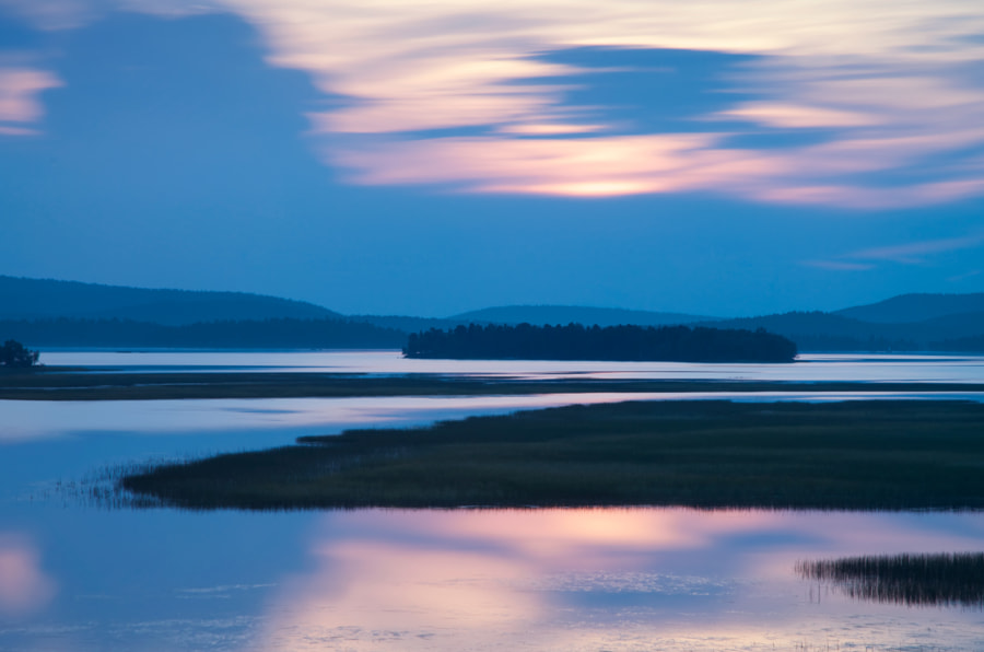 Twilight over the lake Inari