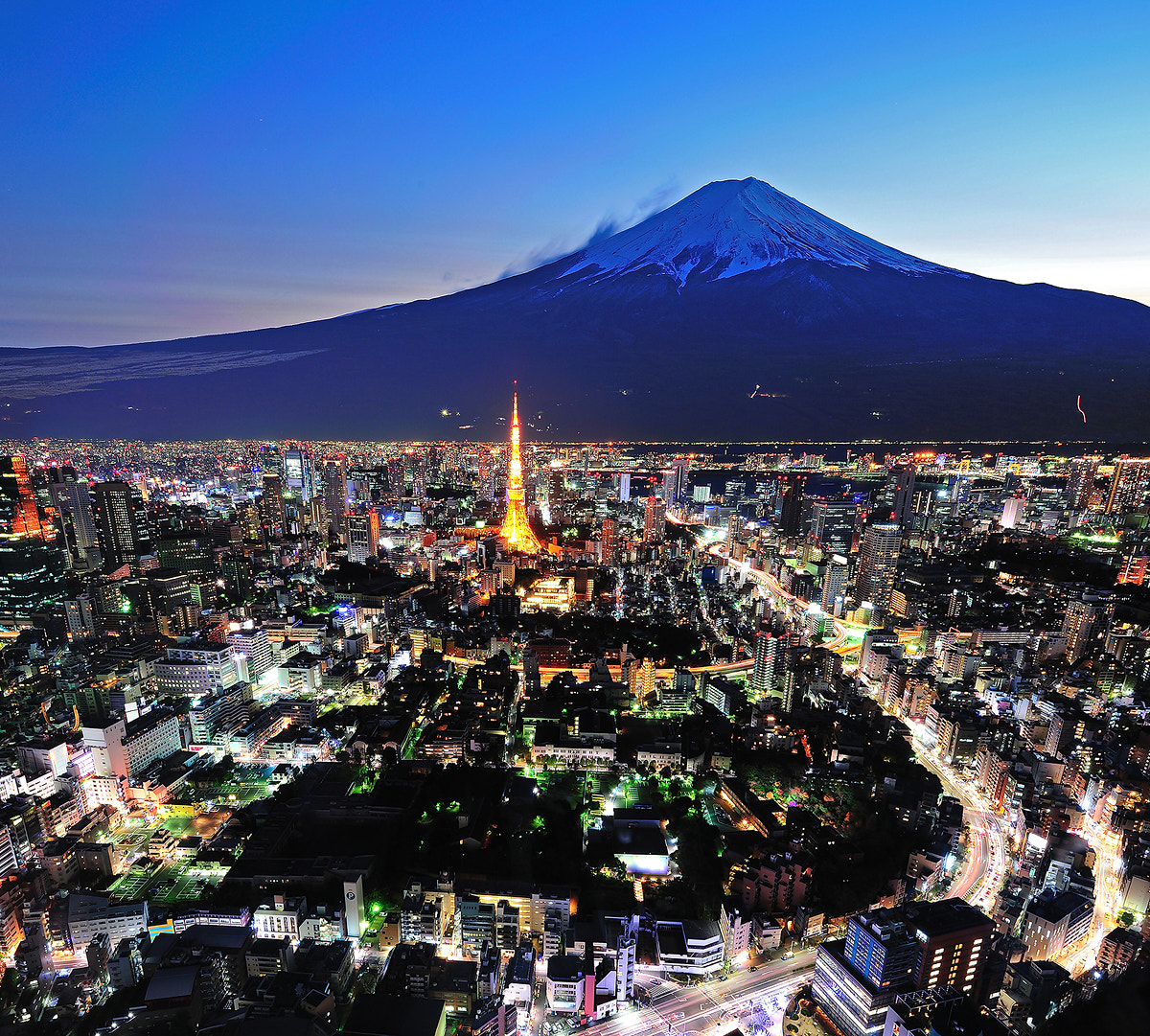 Photograph Mt Fuji and Tokyo city in twilight by skyearth skyice on 500px