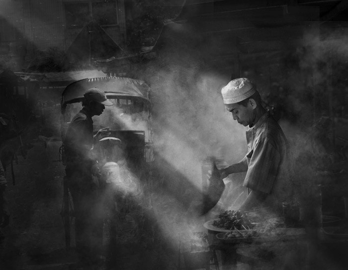 Photograph Satay seller [ B&W Version ] by Saelanwangsa  on 500px