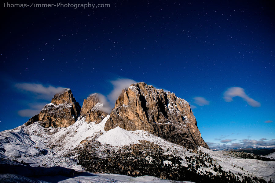 Photograph Langkofel with Stars by Thomas Zimmer on 500px