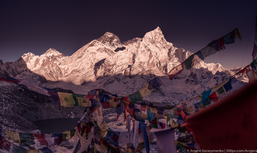 Everest Summit and prayer flags in the Himalayas by Arsenii Gerasymenko on 500px.com