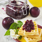 Постер, плакат: waffles with plum jam