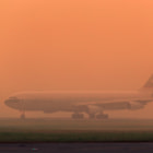 Постер, плакат: Airbus A340 500 Cathay Pacific at Fog