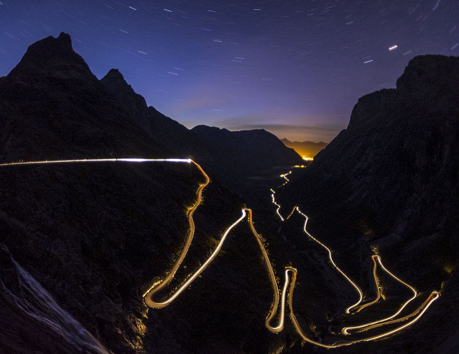 Photograph Trollstigen light trail by Attila Roszjár on 500px