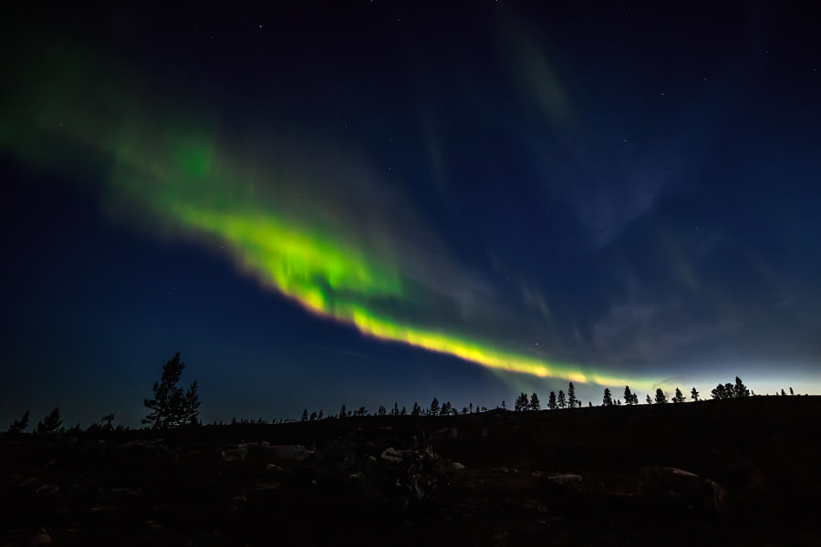 Some northern lights by Sami Multasuo on 500px.com