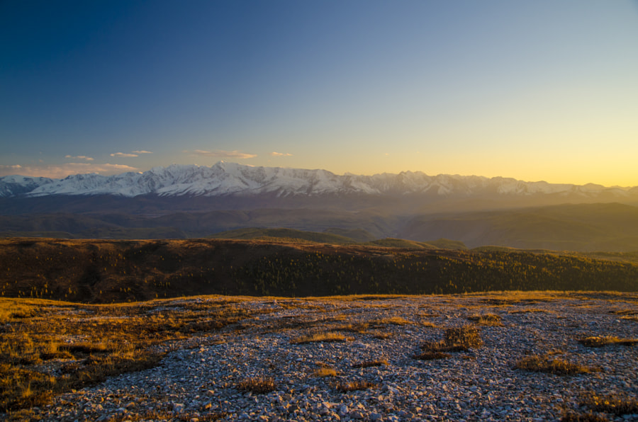 Sunset at heights of 3000m