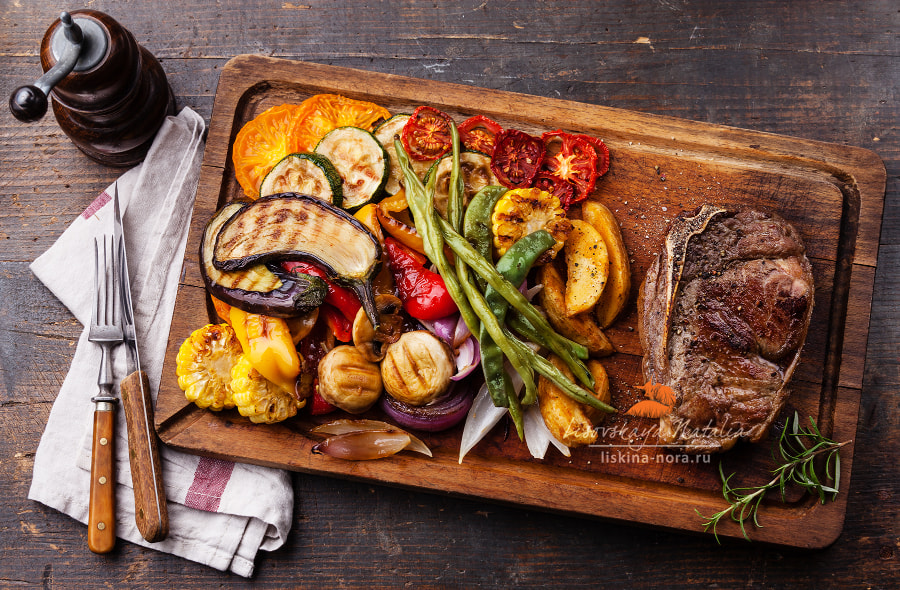 Club Beef steak and Grilled vegetables