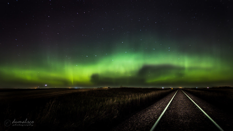 Saskatchewan Aurora and Rails by dumalsco on 500px.com