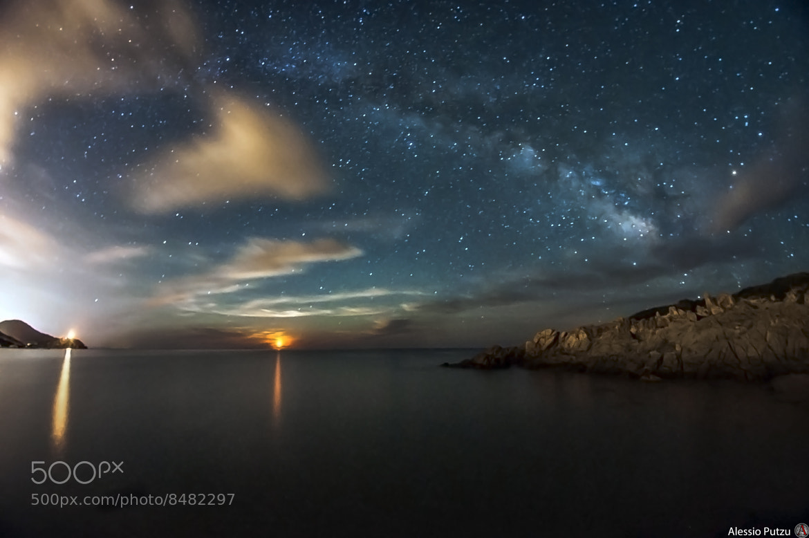 Photograph Moon Rising And Milky Way by Alessio Putzu on 500px