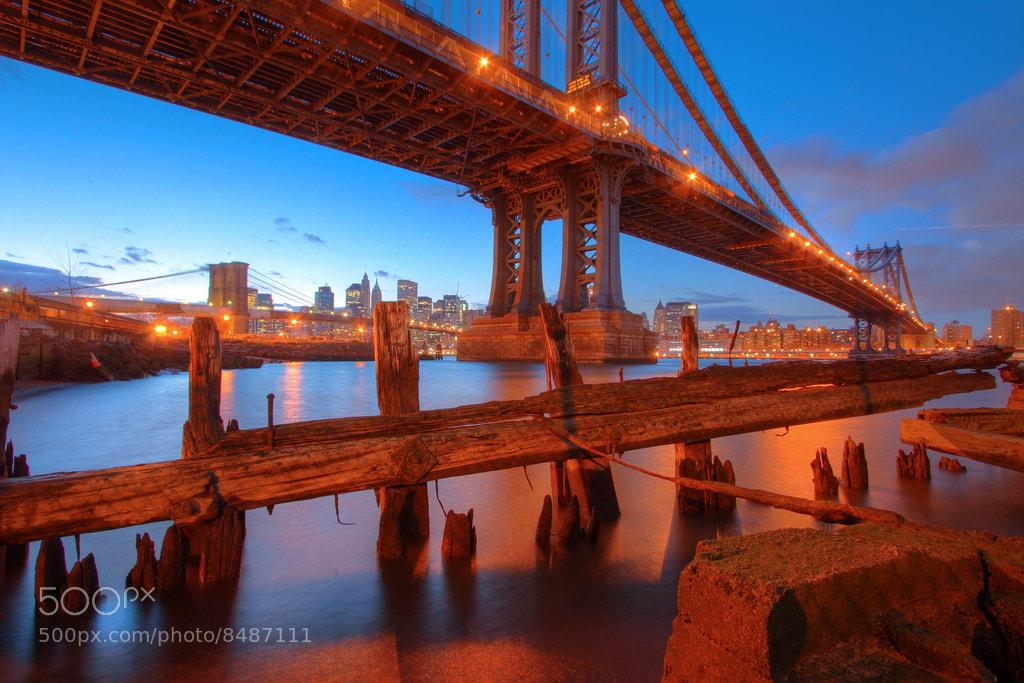 Photograph Manhattan Bridge At Sunset-NYC by Greg Matthews on 500px