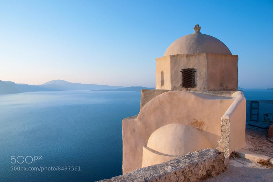 Oia, Santorini, Greece, Europe. Oia Dome at sunrise