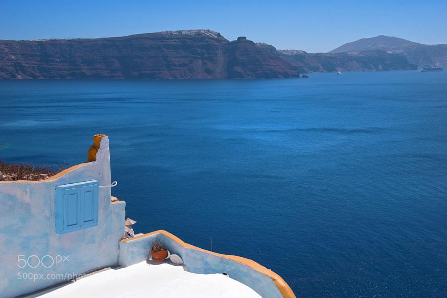 Oia, Santorini, Greece, Europe. Oia balcony with caldera in background.