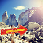 Постер, плакат: Direction sign Torres del Paine Chile