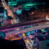 City lights and busy traffic over Bangkok, Thailand.