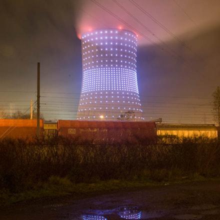 Light & reflect near a power plant