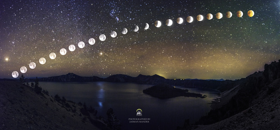 Photograph Lunar Eclipse over Crater Lake by Jasman Mander on 500px