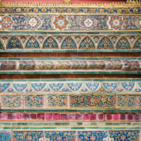 Tile decorations in Temple of the Emerald Buddha grounds, Bangkok, Thailand