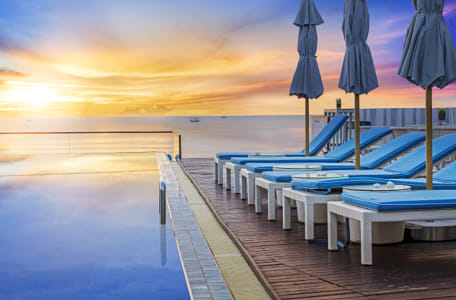 Water pool  vacation with sunrise background by Kimberly Potvin on 500px
