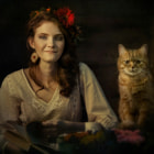 Постер, плакат: Girl with cat