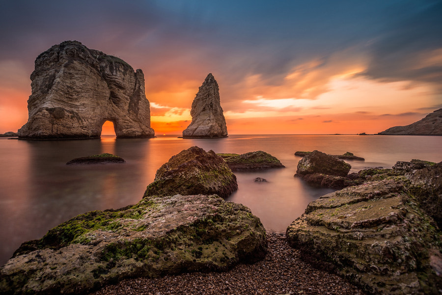 Raouche rock in the magic hour by Cedric Ghoussoub on 500px.com