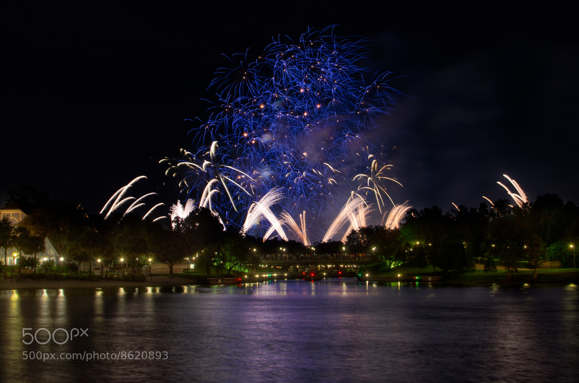 Photograph Fireworks across the Lagoon by Nick Minore on 500px