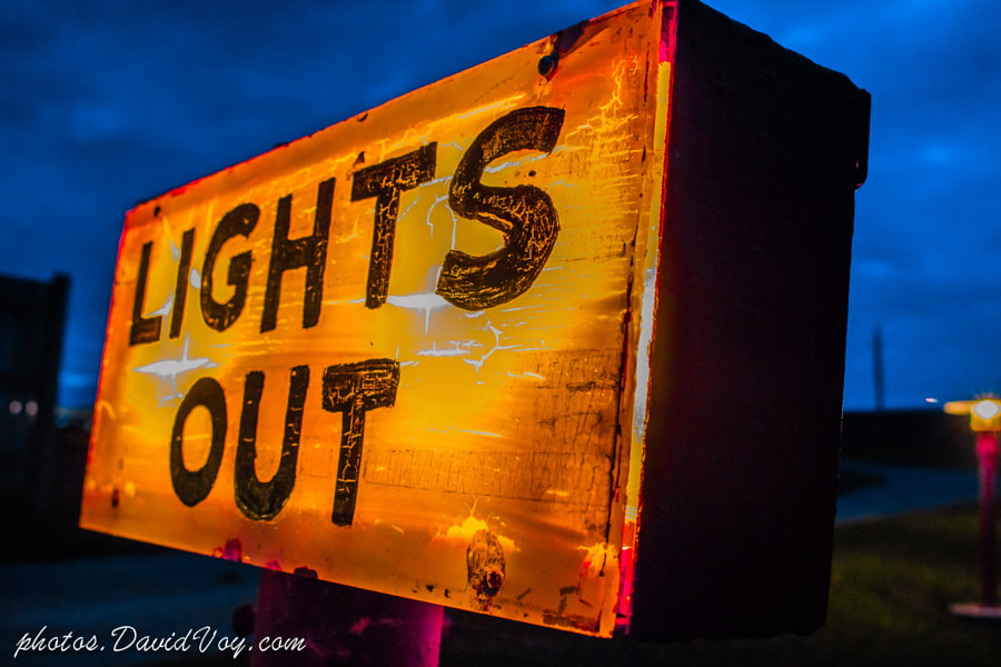 Lights Out Sign @ 61 Drive-In Theatre @ Dusk by David Voy on 500px.com