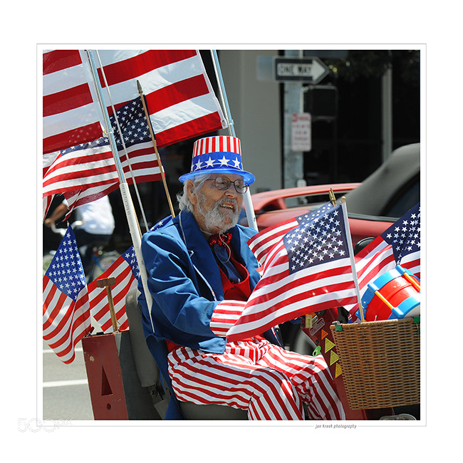 This man was very much into celebrating the 4th of July. Photo taken in Long Beach, California.