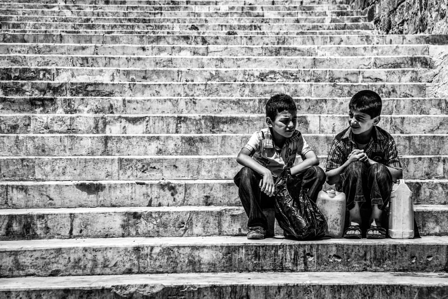 Kids at the stairs