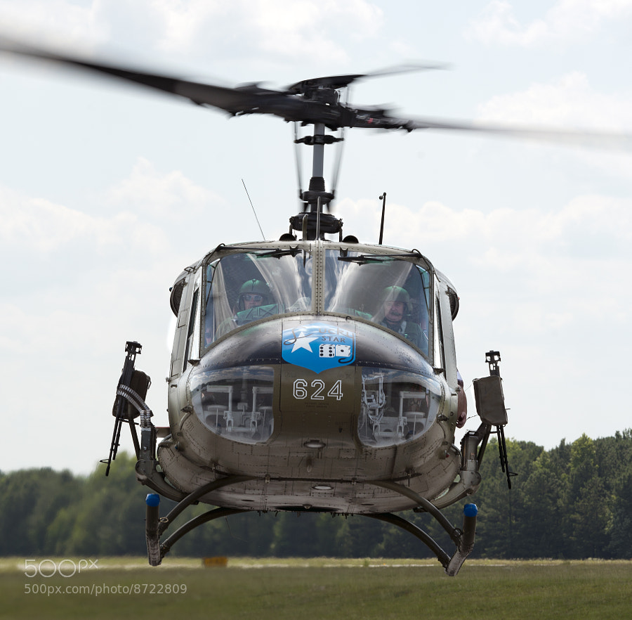 Army Aviation Heritage Foundation's Lucky Star Huey helicopter comes in for a landing.