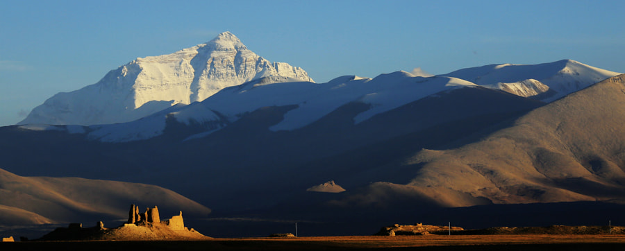 Mt. Qomolangma in Sunset time by yu chen on 500px.com