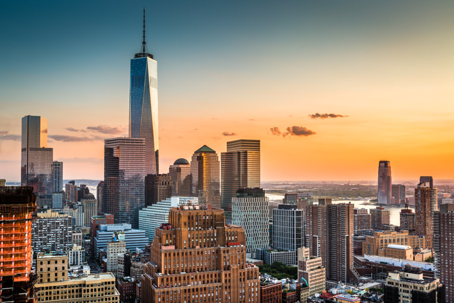 Lower Manhattan skyline at sunset by Mihai Andritoiu on 500px.com