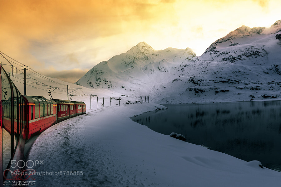 Photograph Bernina express sunset by Sergio Del Rosso on 500px