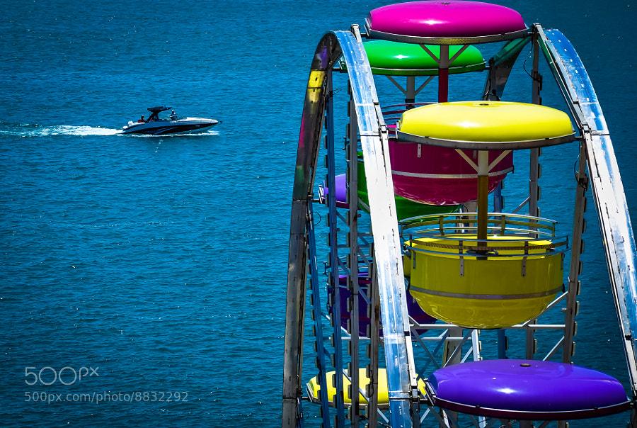 Boat and ferris wheel, Detroit River.