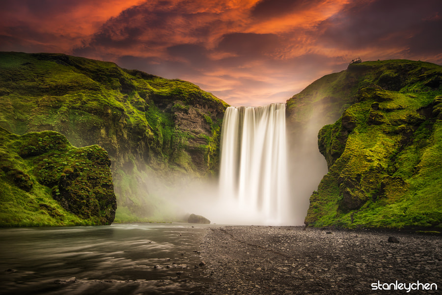 Photograph Skogafoss, the Golden Flow by Stanley Chen Xi on 500px