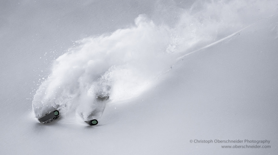 Photograph Aggressive & Powerful Powder Skiing by Christoph Oberschneider on 500px