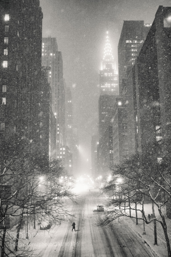Photograph New York Winter  - Snow and the Chrysler Building by Vivienne Gucwa on 500px