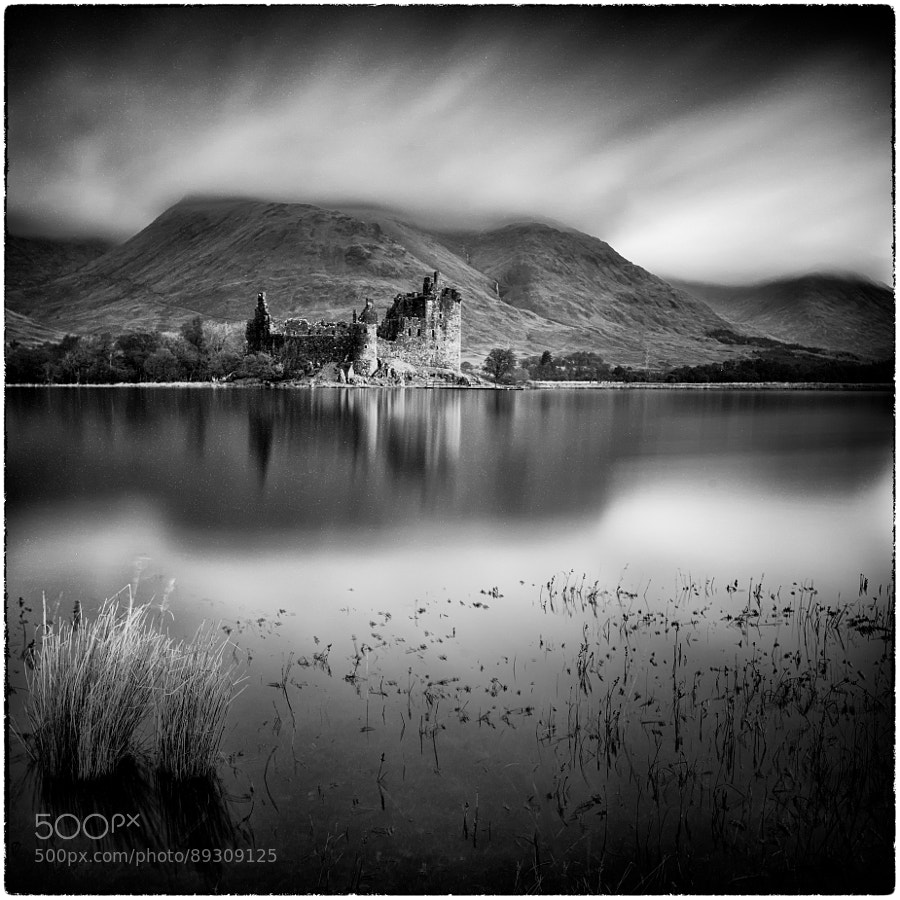 Castle Kilchurn Ruins at Loch Awe, Scottisch Highlands. Long exposure converted into black and white for added drama.
