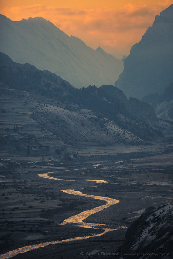 Photograph Marsyangdi river and Bragha village from the Manang (3,540 m) by Anton Jankovoy on 500px